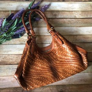 Cole Haan Genevieve Weave Small Triangle Tote Bag